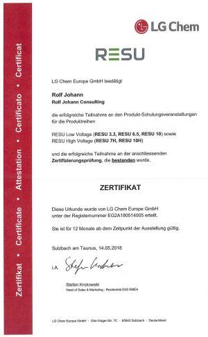 Abbild des Zertifikats für RESU